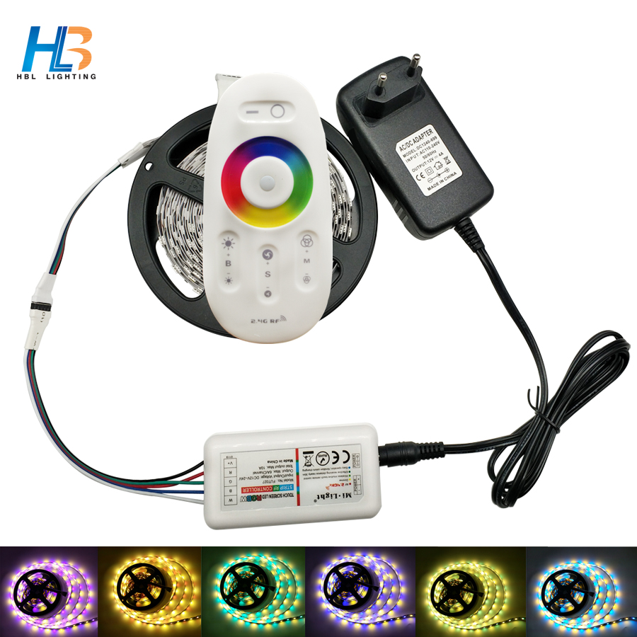 HBL LED STRIP Kit DC12V LED Strip 5050 60LED/m 5M with 2.4 G RF LED Controller 12 V Power Supply 5050 LED Strip RGBW RGBW 10pcs 5 pin led strip wire connector for 12mm 5050 rgbw rgby ip20 non waterproof led strip to wire connection terminals