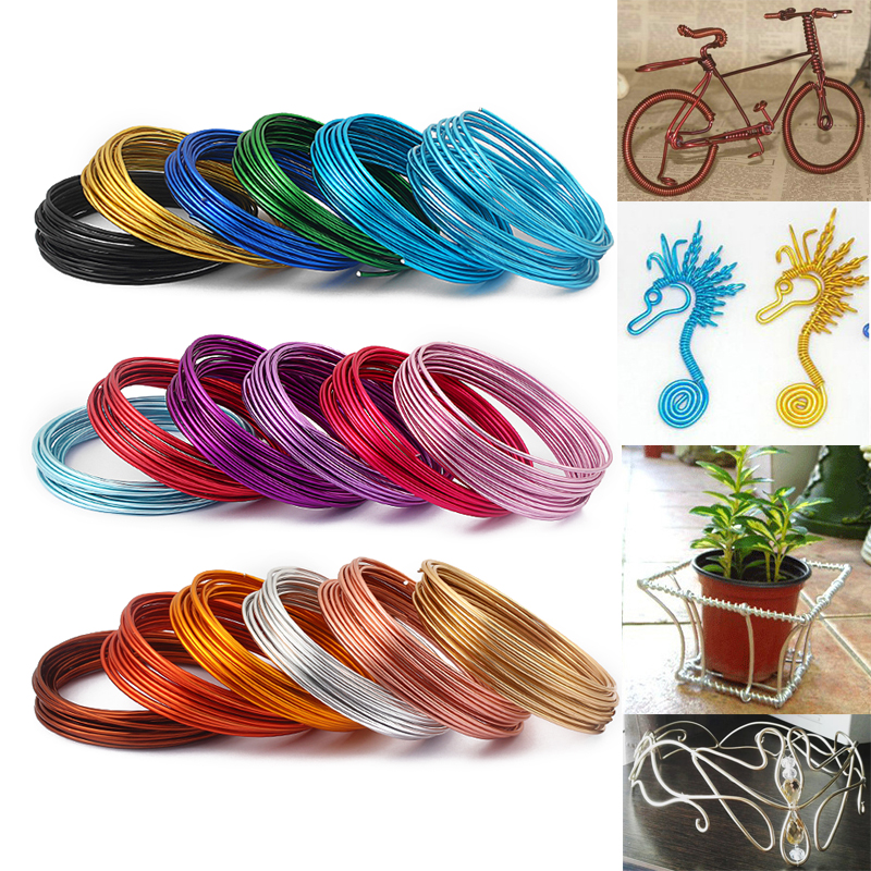 <font><b>5</b></font> Meters / Roll of 2mm Versatile Painted Aluminium Craft Floristry Wire For <font><b>DIY</b></font> Handmade Jewellery Makings image
