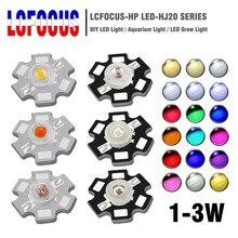 Мощный светодиодный COB чип 1 Вт 3 Вт 5 Вт Теплый Холодный белый красный синий зеленый желтый полный спектр 660nm 440nm для выращивания светильник для аквариума