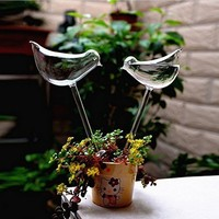 2pcs Birds Shape Flower Kettle Sprinkler Garden Glass Plant Pots Flowerpot Glass Indoor Garden Automatic Watering