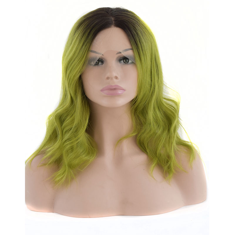Bombshell Dark Roots Ombre Light Green Natural Wave Synthetic Lace Front Wig Glueless Heat Resistant Fiber