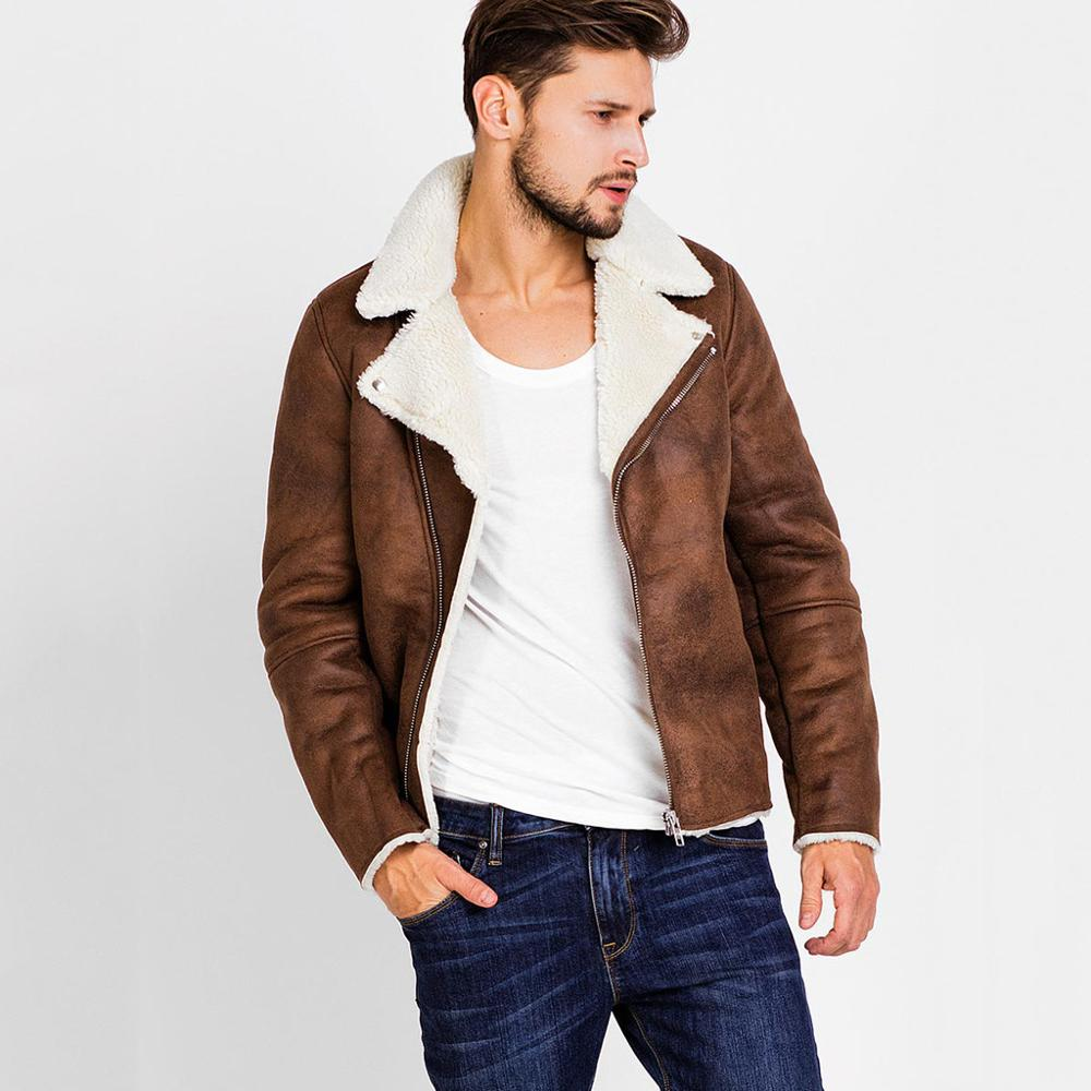 Zipper Closure for Men Leather Jacket Autumn Winter Warm Fur Lining Lapel Leather outerwear layer Innrech Market.com