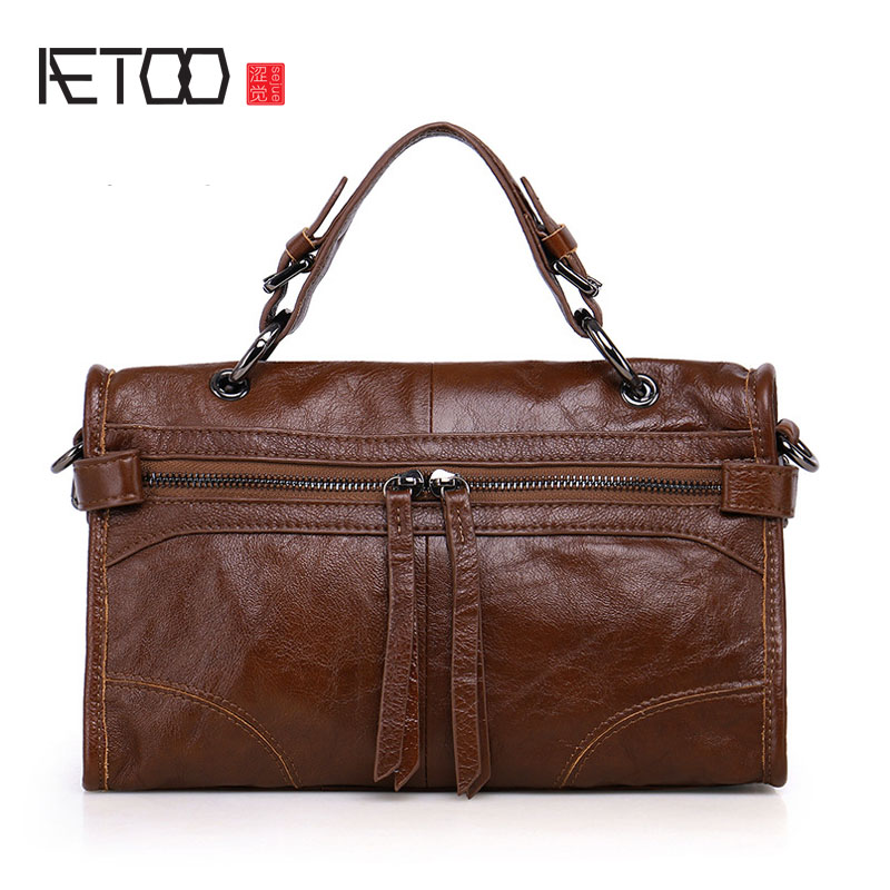 AETOO New female leather baby first layer of leather ladies shoulder bag handbag fashion Messenger bag female new korean version of the first layer of leather pillow bag large lychee pattern handbag shoulder messenger fashion leather leat