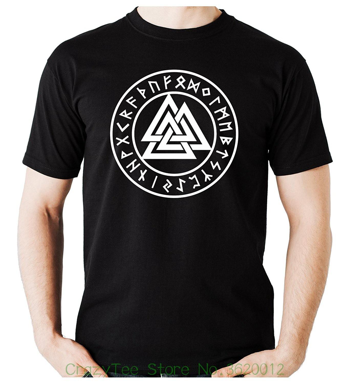 T-shirt Fashiont Shirt Free Shipping Valknut Odin Viking Symbol Runes T-shirt Clothing Norse God Mythology