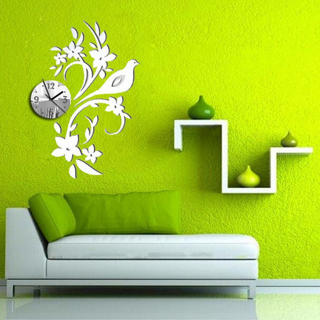 2017 New Sale Watch diy  Wall Clock Clocks Reloj De Pared Horloge Modern Design 3d Diy Acrylic Mirror Living Room Quartz Needle