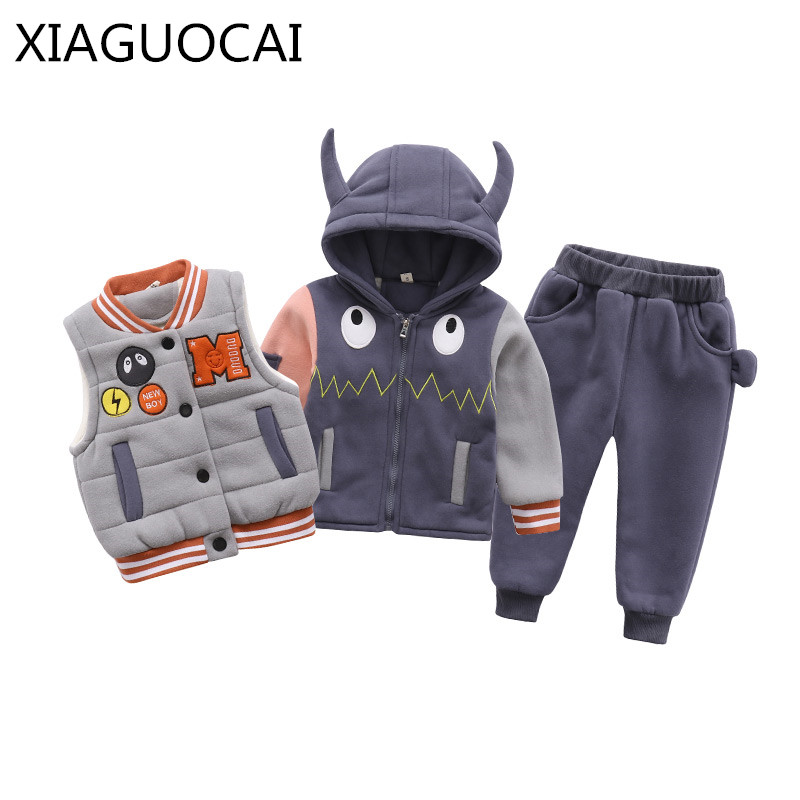2018 Winter Fashion Boys Kids Sets Cotton Hooded Coat+Vest+Pants 3PCS thickening Warm Sport suit Children Cartoon Clothes C21 10 2016 new suit boys clothes brand winter sweater for kids 3 13 year with m word three piece set boys vest pants coat a 26145