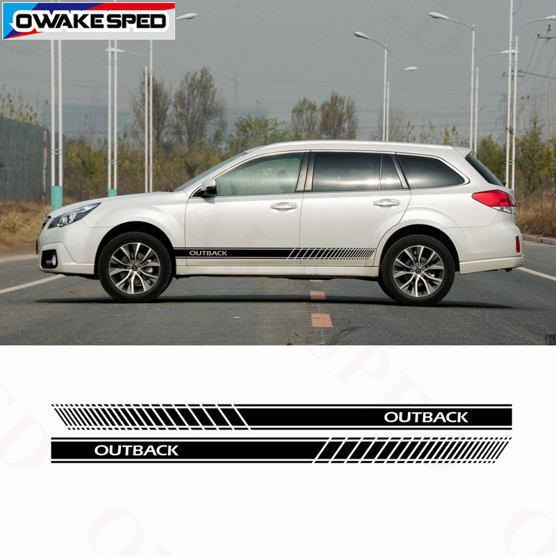 Racing Lattice Stripes Car <font><b>Door</b></font> Side Skirt Sticker Auto Body Vinyl Decals For <font><b>Subaru</b></font> <font><b>Outback</b></font> EyeSight Limited Smart Edition image
