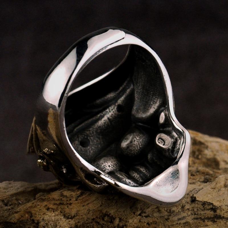 FNJ 925 argent squelette anneau nouveau Punk crâne Original S925 Sterling argent anneaux pour hommes bijoux taille réglable USA 10 12.5-in Anneaux from Bijoux et Accessoires    3
