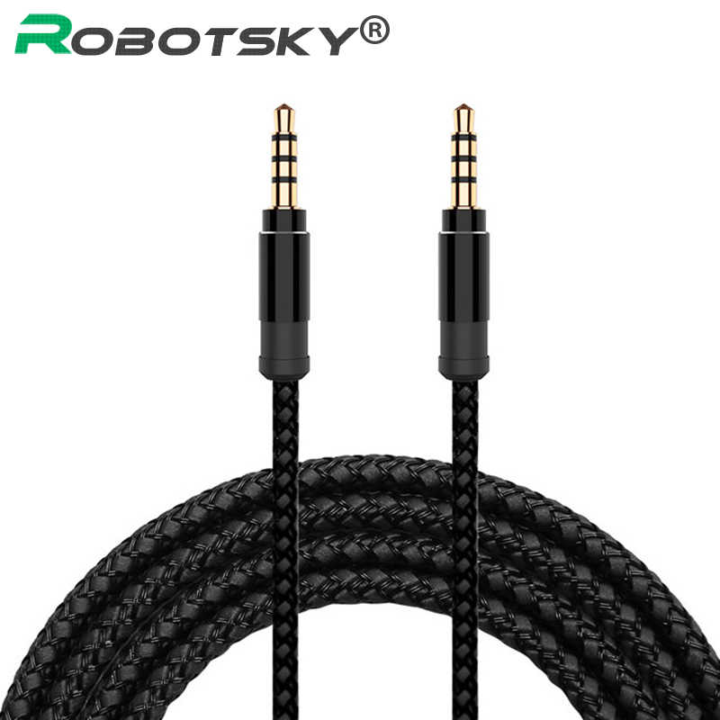 Robotsky Jack 3.5 Mm Audio Kabel Nylon Vlecht 3.5 Mm Auto Aux Kabel 1.5M Hoofdtelefoon Extension Code Voor Telefoon MP3 Auto Headset Speaker