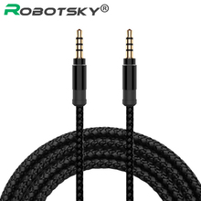 Robotsky Jack 3.5mm Audio Cable Nylon Braid 3.5mm Car AUX Cable 1.5M Headphone Extension Code for Phone MP3 Car Headset Speaker(China)