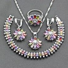 Princess Bridal Women Flower Jewelry Sets Silver 925 Multicolor Zircon Earrings Ring Necklace Pendant Bracelet Free Gift JS263