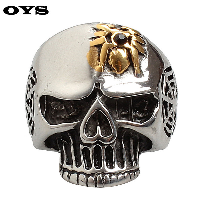 High Polish Big Men's Ring Gold Spider Skull Gothic Exaggerated Stainless Steel Ring For Men 316L Cool Never Fade Punk Biker