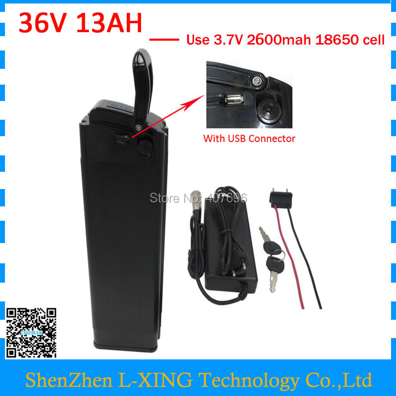 500W 36V 13AH silver fish Battery 36 V 13AH Lithium battery battery pack with usb port 15A BMS 42V 2A Charger Free customs fee