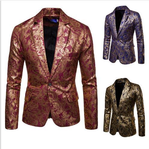 Мужские спортивные пиджаки 2019 новые осенние модные с принтом золотые блокирующие отворачивающиеся блейзеры с воротом мужские повседневны...