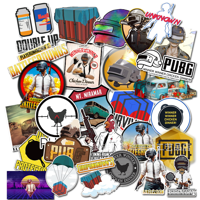 29pcs Pubg Stickers Waterproof Cosplay Props Car Laptop Bicycle Phone Skateboard Accessories PLAYERUNKNOWN'S BATTLEGROUNDS