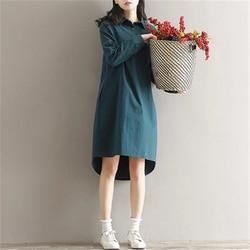 2018 New Spring Autumn Cotton Line Dress Women Vintage Literature  Long Sleeved Shirt Dresses Female Vestidos Z302 4