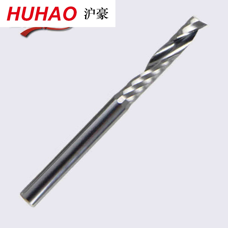 HUHAO Single Flute CNC Router Bits One Flute Spiral End Mills Carbide Milling Cutter Spiral PVC Cutter
