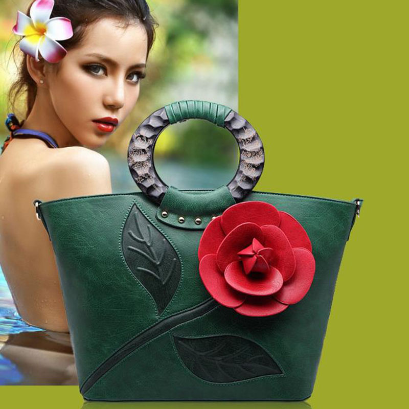 2018 New Style Women Handbag Soft PU Leather Flower Vintage Top-handle Bags for Wedding Gift Lady Fashion Shoulder Evening Bag