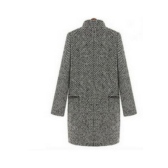 free shipping elegant women winter wool coats plus size grey warm cotton trench laides velvet thick jacket long overcoat