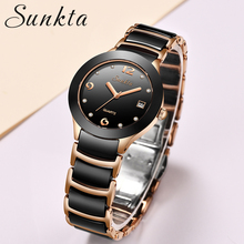 купить SUNKTA Women Watches Top Brand Luxury Stainless Steel Strap Watch Ladies Analog Quartz Wristwatch Simple Style Clock reloj mujer дешево