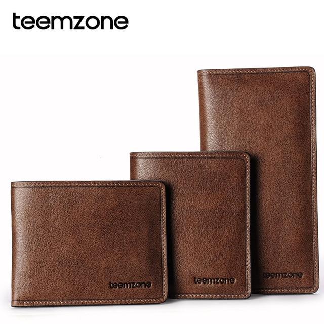 teemzone 1pc European and American Fashion Minimalist Style Full Grain Vintage Genuine Leather Men's Wallet Purse J40
