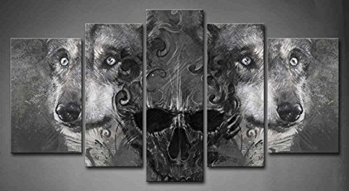 5 panel wall art black and white wolf over and human painting pictures print on canvas