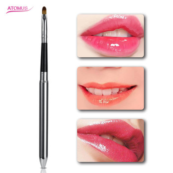 1pc Portable Black Lips Makeup Brush Pen Wood Handle Cosmetic Lipgloss Lipstick Lip Gloss Brush Lip Beauty Makeup Tool