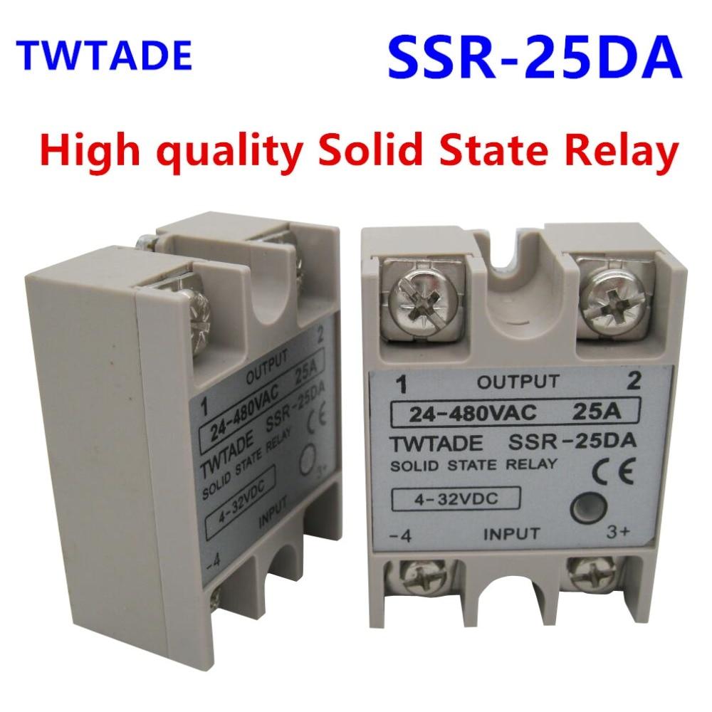 5pcs 24V-380V 25A SSR-25AA Solid State Relay Module 80-250VAC AC-AC
