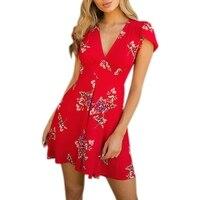 2018 das Mulheres do Verão Sexy Profundo Decote Em V Vestido Estampado Floral Praia Meados cintura Manga Curta Cintura Mini Vestido Mar14 Cônico