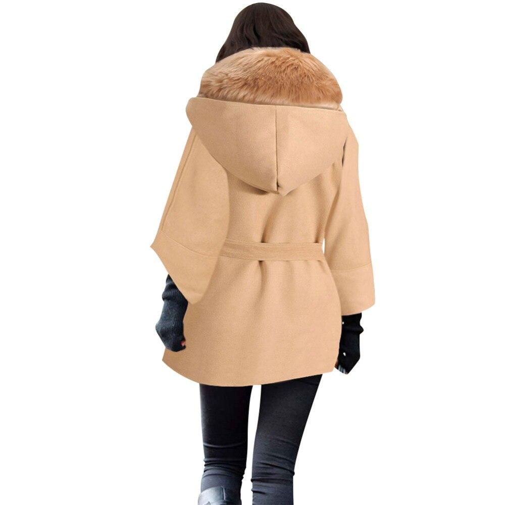 Mode black D'hiver Automne Long Et Arrivée Manteau Mince Nouvelle Slim Camel Tempérament Col Femmes De Fourrure Laine FrFaq