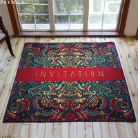Gothic Anti Skid Carpet Living Room Bedroom Fashion Square Mats Coloured Drawing Pattern Crawling Nylon Mat