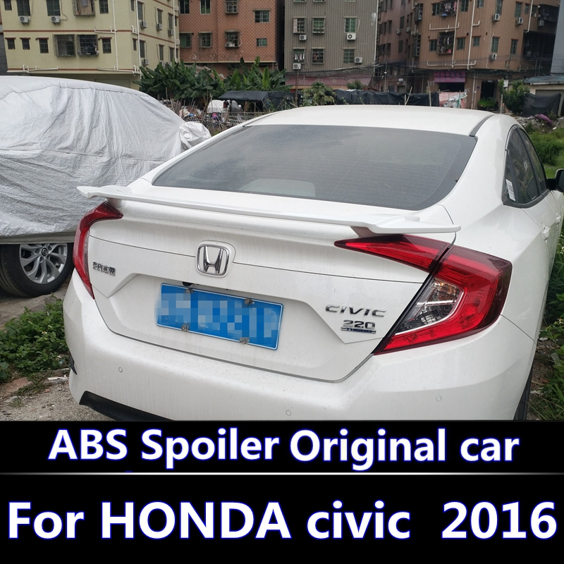 For HONDA civic Spoiler 2016 civic High Quality ABS Material Car Rear Wing Primer Color Rear Spoiler For civic 2016 2018 spoiler|Spoilers & Wings| |  -