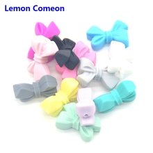 Lemon Comeon Silicone Teething Beads Baby Teether Lovely Bow Accessories Toddler Toy Wholesale 20PCS/50PCS