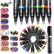 Arte do prego caneta pintura design ferramentas de unhas uv gel polonês unhas 3d arte do prego diy decoração arte marcadores caneta