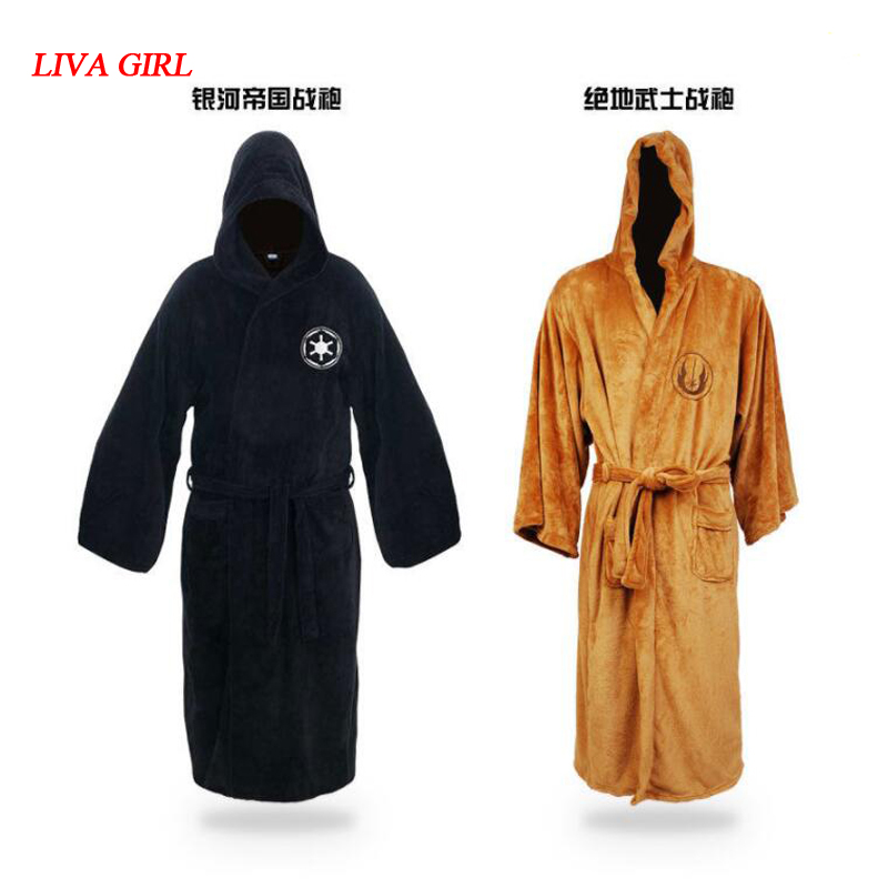 Star Wars Jedi Knight Robe Deluxe Bath Robe Darh Vader Cosplay Costume Brown Robe Dress Gown Sleeping Wear Pajamas