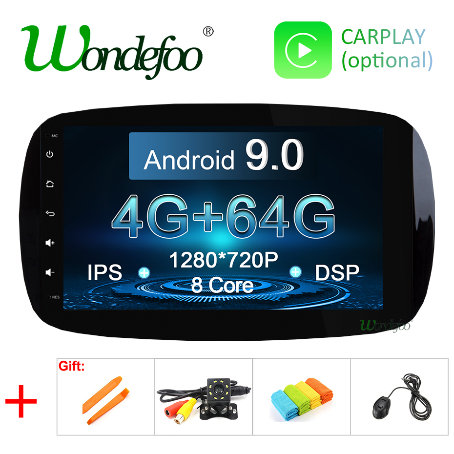 IPS DSP 4G 64G 9 Android 9 0 1din Car GPS radio For Mercedes Benz Smart