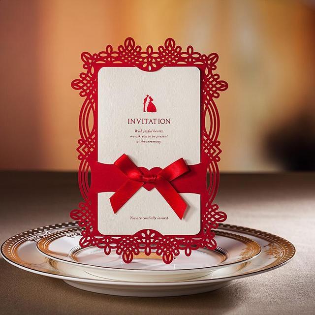 Red Laser Cut Wedding Invitation Card Invitations Cards 50sets Lot