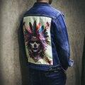 Новый 2016 Srping Осень Мужские Мальчики Мода Хип-Хоп Джинсы джинсовая Куртка С Печатью на спине Плюс Размер 4XL 5XL M438