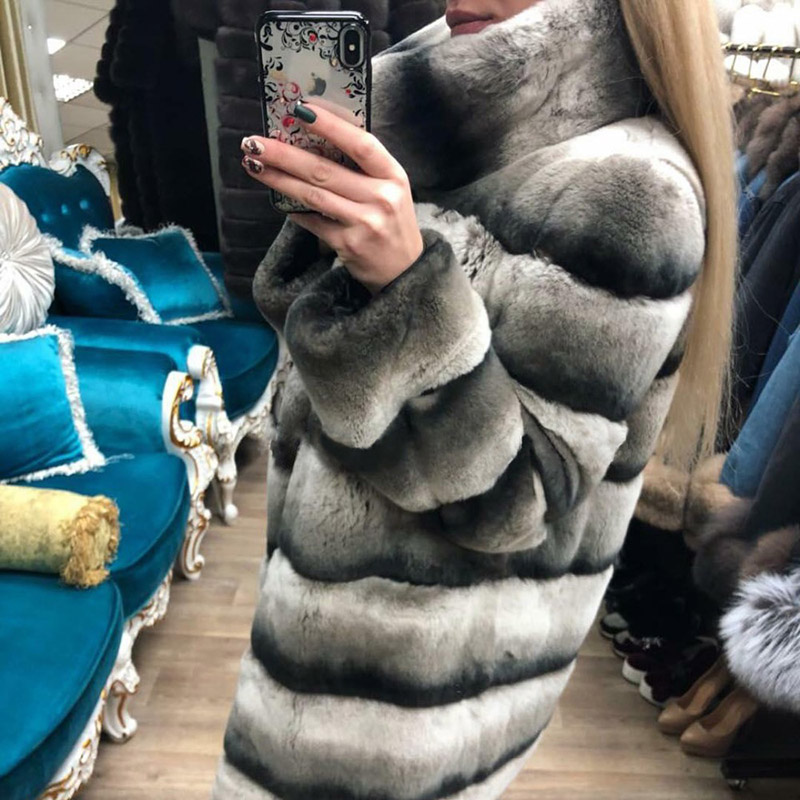 Femmes Rex D'hiver Fourrure Épais Col Luxe Lapin Naturel Avec Nouveau De Manteau Véritable Topfur Veste Chaud Mode 2018 qERz7xvw1n