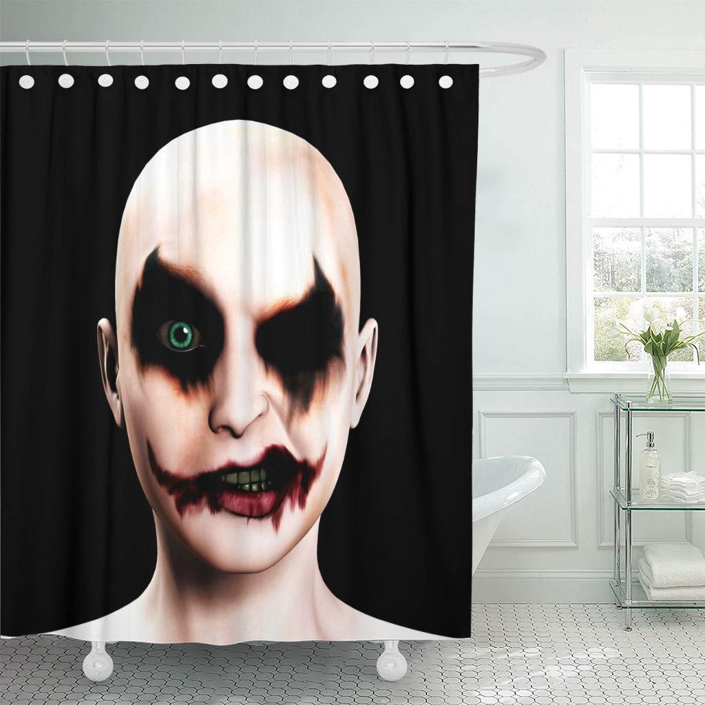 Us 17 06 36 Off Shower Curtain Hooks Scary Evil Psychotic Female Clown Halloween Face Joker Psychopath Circus Eyes Nose Decorative Bathroom In