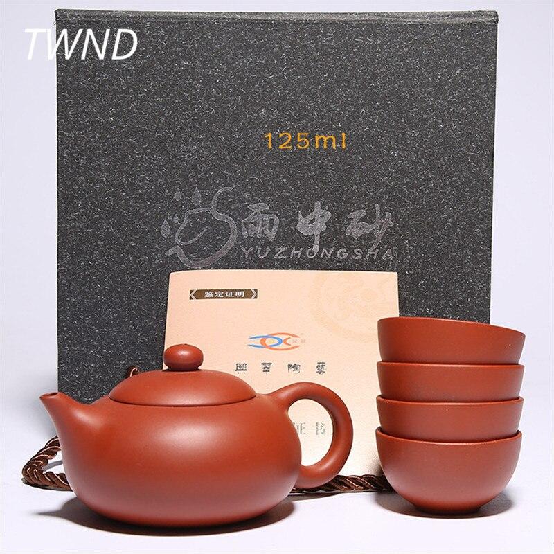 Yixing tea pot cups set kung fu zisha teaware simple purple clay teapot mugs sets drinkware with gift box