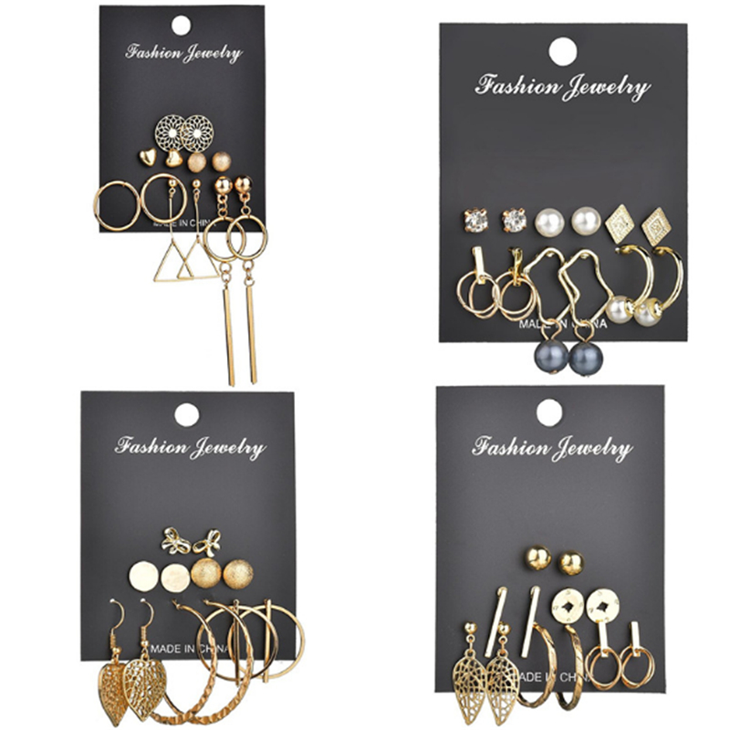 Ailodo 6 Pcs/Set Simple Fashion Earrings Set For Women Girls Gold Color Geometric Round Triangle Femme Bijoux LD131