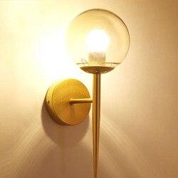 Nowy nowoczesny Nordic okrągły lampy szklane ściany Led kinkiety ścienne dla domu sypialnia badania Besside schody czarny i złoty e27 gniazdo