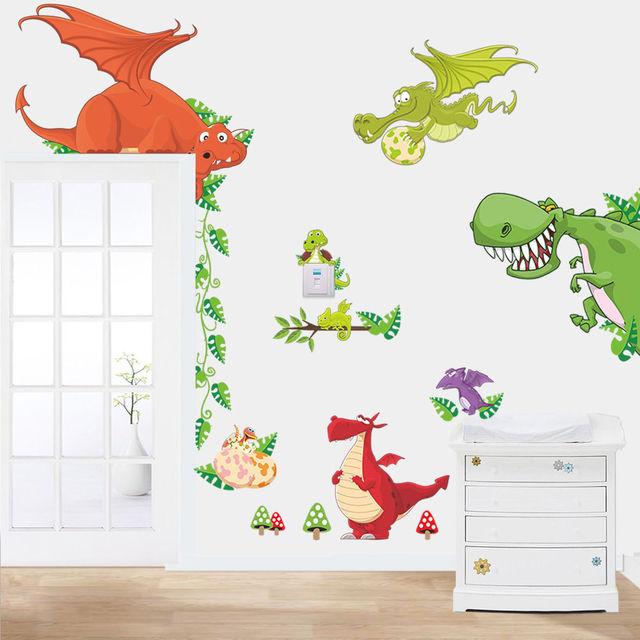 Drachen Dinosaur Wand Vinyl Aufkleber Kinder Kinderzimmer Tiere ...
