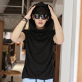 TShirt Homme 2016 Spring New Arrival Fashion Hooded T Shirt Korean Slim Candy Color Short Sleeve Hip Hop Solid T-Shirt  6Colors