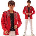 2016 New Men's Cool Fashion beads Diamond Red Suit jacket costume Nightclub male singer dancer stage show Performance Wear