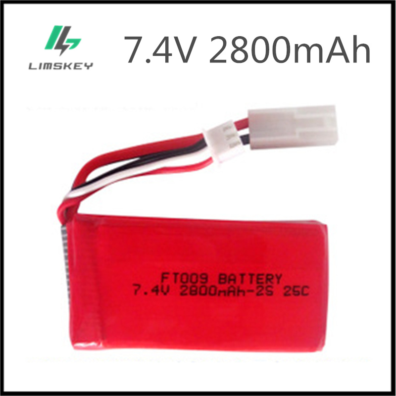 2pcs/packaging rc lipo Battery 7.4V 2800mAh 25C FT009 for RC Yacht RC Airplane RC Car Rechargeable with SM-JST-EL 2P-T Plug