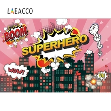 Laeacco Happy Birthday Superhero Baby Scene Child Photographic Background Customized Vinyl Photography Backdrop For Photo Studio