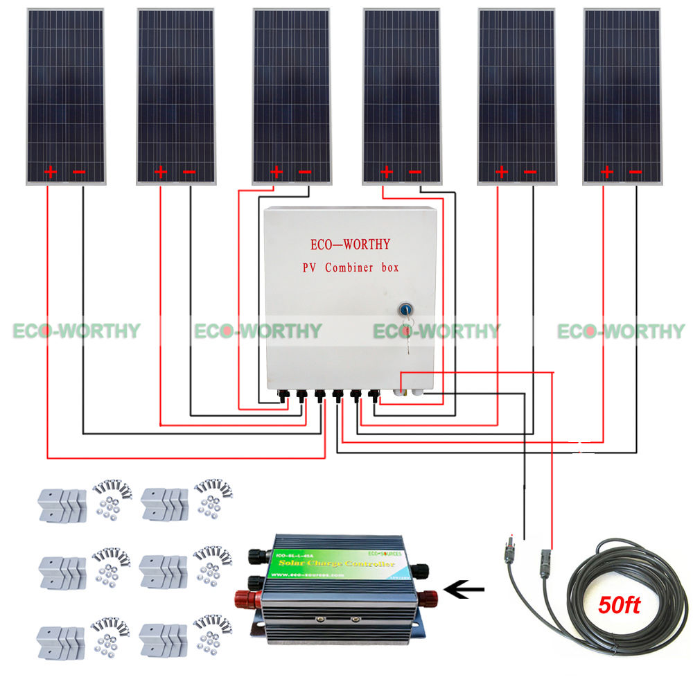6pcs 150W 12V Off Grid 900W Solar System W/ 45A Controller 6 String Combiner Box Solar Generators 12 string input to 1 string output for off grid solar energy system photovoltaic array solar pv combiner box