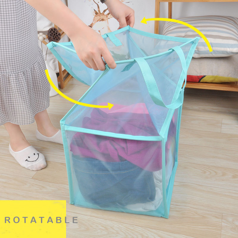 Popped Up Collapsible Mesh Laundry basket Dirty Laundry Sorter Mesh Basket Dirty Clothing Storage Basket Laundry hamper in Storage Bags from Home Garden